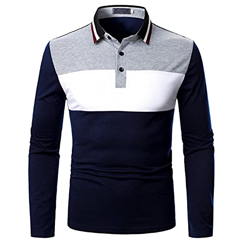 Maryia Long Sleeve Polo Shirts for Men Casual Slim Fit Lapel Button Down Patchwork Quick Dry Lightweight T-Shirt Tops
