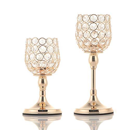 VINCIGANT Gold Kristall Kerzenhalter/Kerzenständer Gold Gesetzt für Hochzeit Dekoration Esszimmer Dekoration Tabelle Kernstück,20cm&25cm Höhe