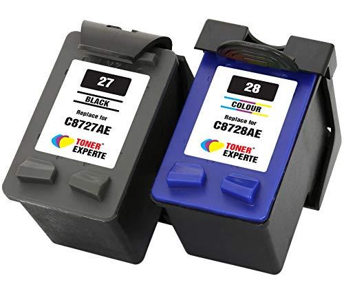TONER EXPERTE® 2er Set Druckerpatronen kompatibel für HP 27 HP 28 C8727AE C8728AE Officejet 4215 PSC 1110 1210 1215 1315 Deskjet 3320 3325 3420 3535 3550 3650 5650 5850 | hohe Kapazität
