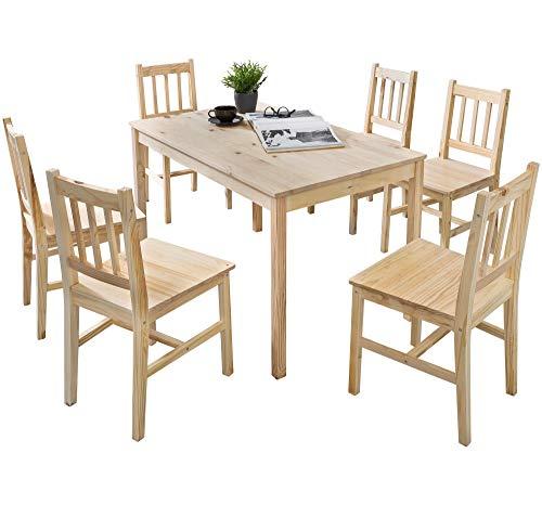 FineBuy Esszimmer-Set Emilio 7 teilig Kiefer-Holz Landhaus-Stil 120 x 73 x 70 cm | Natur Essgruppe 1 Tisch 6 Stühle | Tischgruppe Esstischset 6 Personen | Esszimmergarnitur massiv