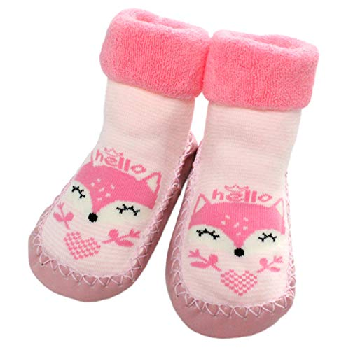 Colourful Baby World Bébé Filles Hiver Intérieur Chaussettes Pantoufles Anti-dérapant Rose Rayé Renard 3-24 Mois - Rose, 12-24 Months