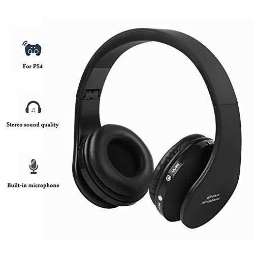 Draadloze bluetooth-hoofdtelefoon, hifi-stereo-hoofdtelefoon, met ontvanger voor PS4-console of andere Bluetooth-apparaten, werkt tot 12 uur mini-USB-oplaadopening.