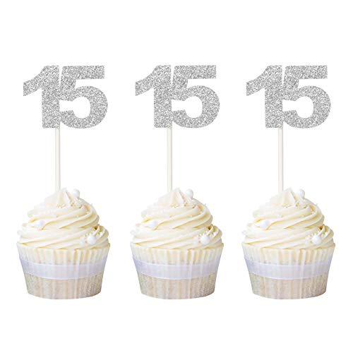 Ercadio Numbers 15 Cupcake Toppers Silver Glitter 15th Cupcake Picks Birthday Anniversary Party Decoration Supplies 24 PCS