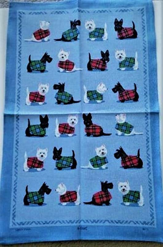 Samuel Lamont Scottie Westie Dog Blue Kitchen Tea Towel Imported 100 Percent Cotton