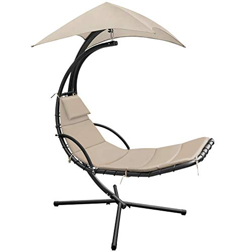 Devoko Patio Hammock Lounge Chair Outdoor Hanging Chaise Lounge Swing Chair for Adults Backyard Garden Deck Canopy Umbrella Free Standing Floating Bed Furniture (Light Beige)