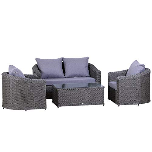 Outsunny Deluxe Garten-Rattan-Möbel-Set, 4-Sitzer-Sofa-Set, Couchtisch, Sessel, Bank, Geflecht, Aluminiumrahmen, Komplettmontage – Grau