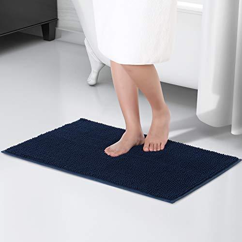 Lifewit Badematte 80 x 50 cm Badteppich aus Chenille Teppich für Badezimmer Dunkelblau