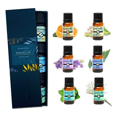 Mainelux Aceites Esenciales para Humidificador, 100% Natural Puro Aromaterapia Top 6 Set...