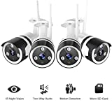 Outdoor Security Camera - 1080P Outdoor Cameras Wireless, FHD Night Vision, Motion Detection, IP66 Waterproof, Two-Way Audio, Work with Alexa, Cloud Storage, 128G SD Card Support (4 Pack)