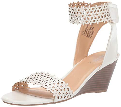 XOXO Women's Sadler Wedge Sandal, White, 8 M US