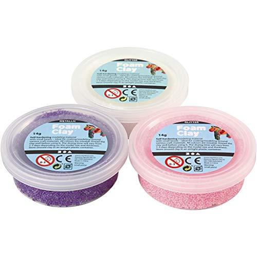 Foam Clay® Sets, weiß, lila, rosa, metallic und glitzernd, 3x14g