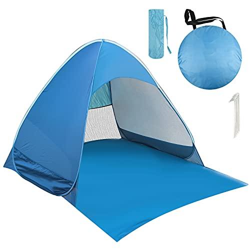 AILGOE Pop up Strandmuschel/Strandzelt Beach Zelt Tragbar Wurfzelt,UV Schutz 50+ für 1-3 Person mit Haus Verschiedene Arten Aktivitäten am Strand