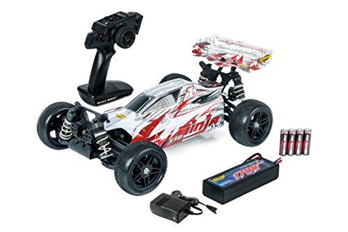 Carson 500404170 1: 10 Ninja 4WD x10 2.4G 100% RTR, Ferngesteuertes Auto, Offroad Truggy, inkl. Batterien und Fernsteuerung, Bedruckte Karosserie