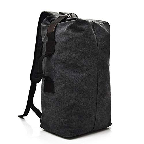 Somnchun Rugzak met grote inhoud, voor reizen, bergbeklimmen, bagage voor heren, van linnen, dobbelstenen en schoudertassen, zwart/legergroen/kaki,  Blanco Y Gris (zwart) - Somnrchun