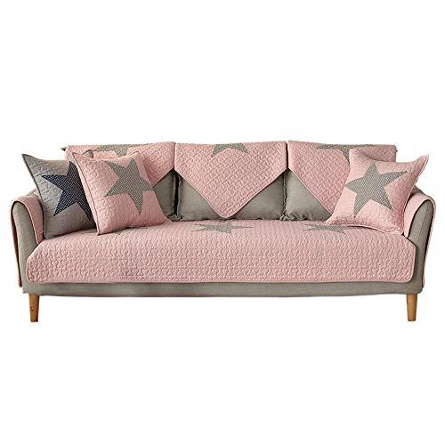 YUTJK Cojín de Sofá Universal de Cuatro Estaciones,Cojín de Protección de Sofá,Funda de Asiento de Tela,Cubierta de sofá de algodón de Dormitorio de impresión Estrella-Rosa_90×210cm
