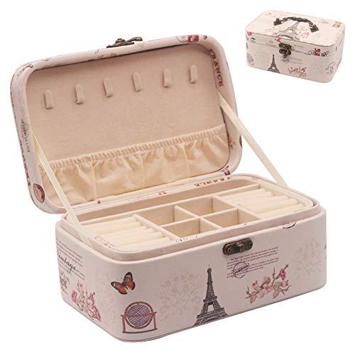 Portagioie Scatole, Portable Portagioie Viaggio da Donna, Organizzatore per Orecchini, Anelli, Collane, Braccialetti (2 Strati)