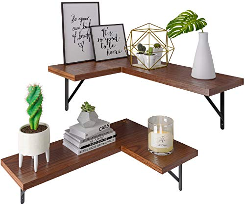 Metrogico Rustic Corner Shelf or Floating Shelf - Set of 2 Wall Shelves or Floating Shelves for Wall, Shelves for Bedroom, Bathroom Shelves, Kitchen Storage & Wall Decorations for Living Room Decor