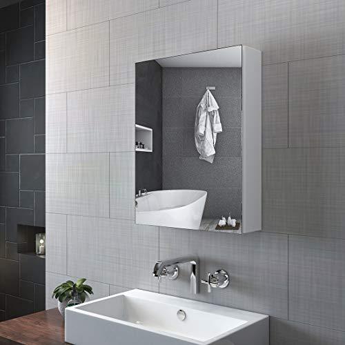 KOBEST Badezimmer Spiegelschrank, 50x65cm Bad hängeschrank eintüriger Badschrank mit Doppelseitiger Spiegel(Weiß)