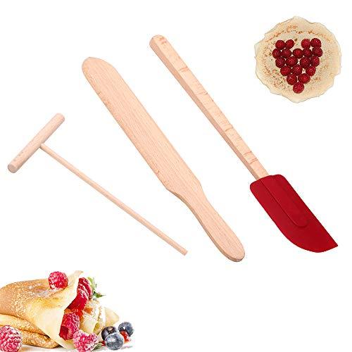 CAFFER Crêpière en Bois Set de spatule en Bois | Taille Parfaite pour s'adapter à la crêpière Moyenne | Éponge et spatule en crêpe de hêtre 100% Naturel pour la Cuisson (M Set)