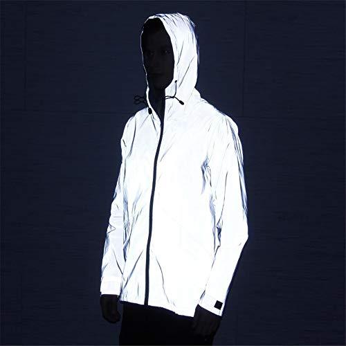 XXHDEE reflecterende jas, onregelmatig in de lange smoking-trenchcoat, nachtelijke hip-hop-jas, grijs veiligheidsvesten