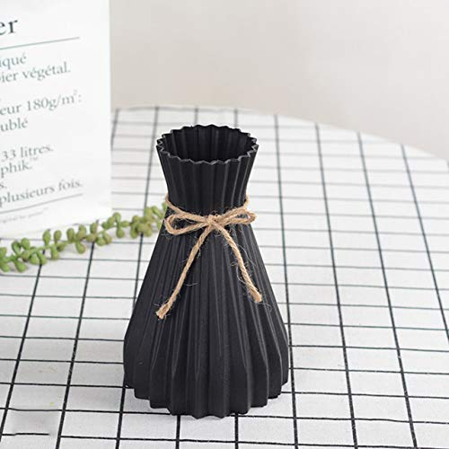 CCZMD Origami jarrón de Flores Sencilla decoración del hogar de la Flor de la simulación de simulación florero arreglo Arte jarrón de plástico,Negro