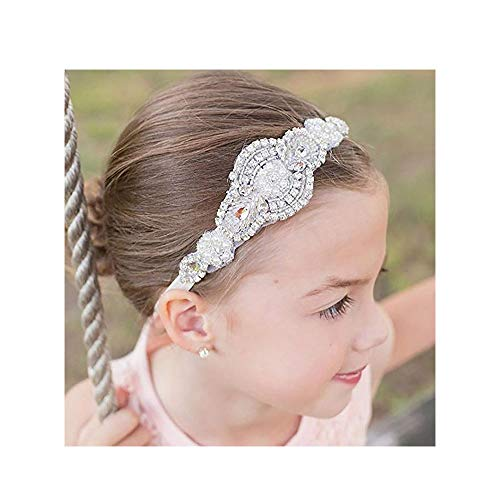 Missgrace Flower Gilr Silver Crystal Rhinestones Headband Wedding Hair Accessories Hair Jewelry for Wedding and Girls
