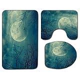 3Pcs Alfombra de baño antideslizante Juego de tapa de asiento de inodoro Decoración de terror Alfombra de baño antideslizante suave Halloween con luna llena en el cielo y ramas de árboles muertos Bosq