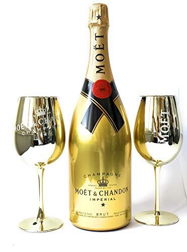 Moët Chandon Brut Golden Sleeve Flasche 1,5l Magnum + 2 Gold Echtglas Gläser 12% Vol