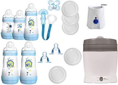 MAM primamma Set 6 - Startset - MAM Flaschen Sauger primamma Vaporisator Babykostwärmer 20 teilig - Junge