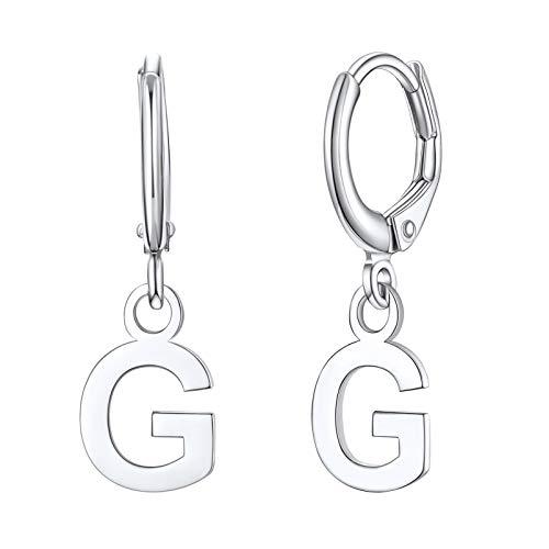 Silvora - Orecchini a cerchio in argento Sterling con iniziale iniziale da donna, con lettera S925, a forma di lettera A-Z, Argento sterling,