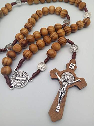 SHOYY Rosario de bronce antiguo con cruz retro y crucifijo d