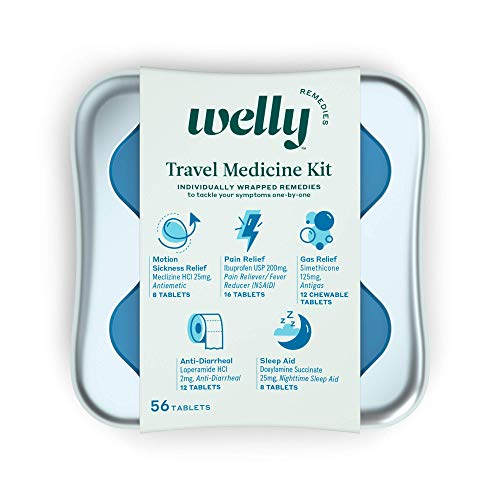 Welly Remedies - Travel Medicine Kit, Individually Wrapped: Motion Sickness Relief, Pain Relief, Anti-Diarrheal, Gas Relief, and Sleep Aid - 56 Count