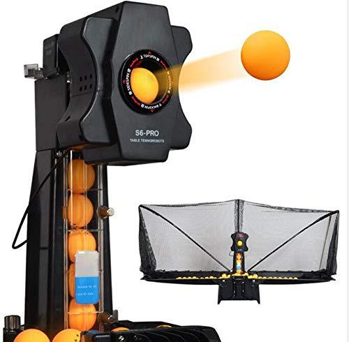 PONED Tischtennis Roboter Ping Pong Automatic Launcher Unregelmäßiger Aufschlag Einstellbarer Schwenkbereich Mit Schaltkasten, Netzabdeckung für Trainingsübung