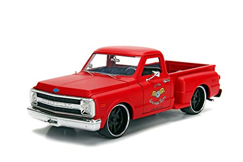 Jada Chevrolet C-10 Stepside Pick Up 1969 Garage Nuts matt rot Modellauto 1:24 Toys