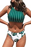 CUPSHE Women's Teal Stripe Leaves Print Criss Cross Bikini Sets, Small
