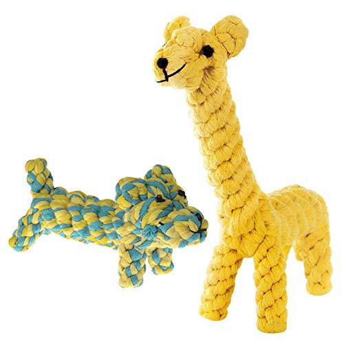 SunGrow 2 Stück Baumwollseil Knoten Welpenspielzeug Langlebig Handgewebt Dynamisches Duo von Gaby The Giraffe & Daisy The Dog Weiche Kauartikel für kleine Rassen Für gesunde Zähne und Zahnfleisch