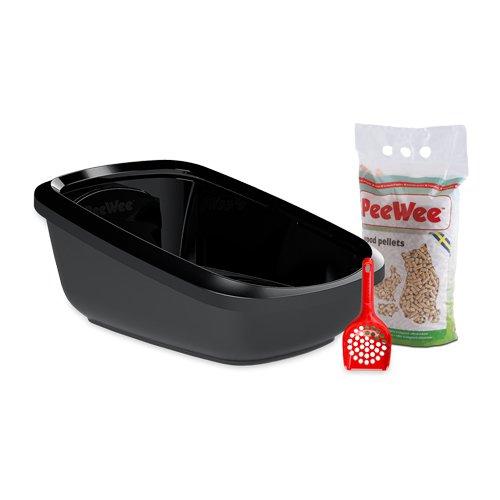 PeeWee EcoGranda - Katzentoilette - Starter-Paket Schwarz