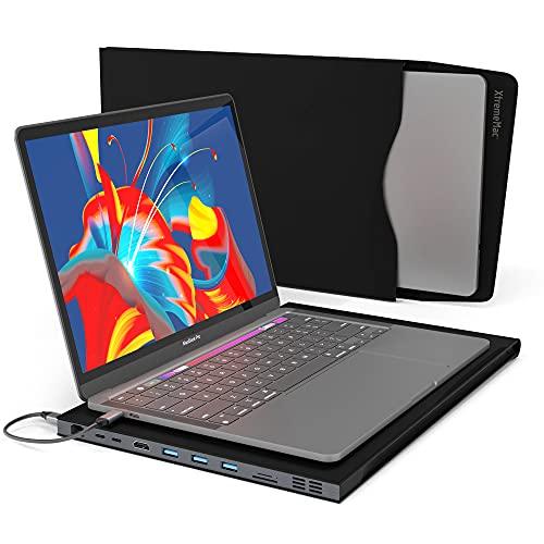 XtremeMac® Sleeve - Funda para Macbook Pro 13' con Adaptador USB C Integrado, 9 Conexiones - Hub multipuerto Premium con 2* USB-C, 3* USB 3.0, 4K HDMI, Ethernet, Lector de Tarjetas SD / TF