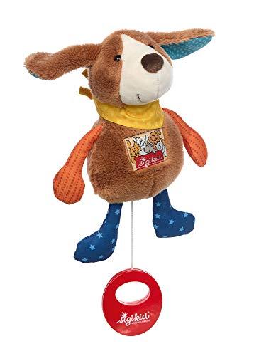 SIGIKID Mädchen und Jungen, Mini-Spieluhr zum Aufziehen, Hund, Babyspielzeug, empfohlen ab 0 Monaten, mehrfarbig, 42487