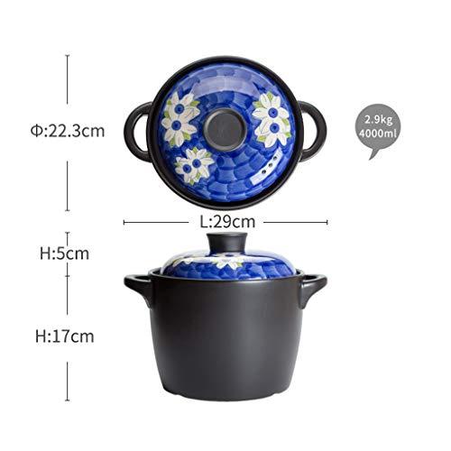 Cookware Wwshm Pot Casserole Wok Suppentopf Bratpfanne Haushalt Hohe Temperaturbeständigkeit Keramik Druck Antiverbrühschutz Haushalt Keramik Gas Claypot Reis Hühnersuppe (Size : 4L)