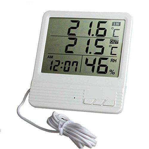 lafyHo Medidor de Humedad Relativa Estación meteorológica probador CX-301A LCD Digital termómetro higrómetro Interior/Exterior Temperatura del Tanque de Peces
