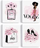 African American Wall Art Black Girl Pink Flowers Canvas, Girls Bedroom Wall Decor, Perfume Handbags High Heels Prints Wall Pictures Paintings for Women Room Decor, Set of 4. 8x10in - Ready to Hang