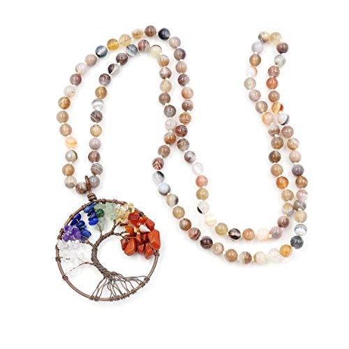 Collar de Piedras Preciosas Perlas Mala, 108...