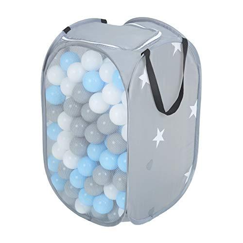 KiddyMoon - Bällebäder & Zubehör für Kinder in grau:grau/weiß/babyblau, Größe 300 Bälle (∅ 6cm)