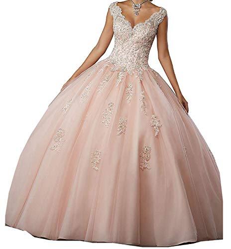 Carnivalprom Damen V-Ausschnitt Quinceanera Kleider Mit Spitze Abendkleider Lang Hochzeitskleider Elegant Ballkleid(Rosa,40)