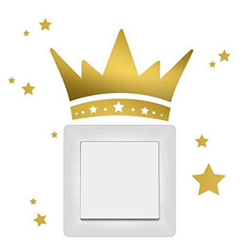 Wandtattoo-Loft Lichtschalter Aufkleber Krönchen mit Sternen im Set Prinzessin Krone/Kleiner Prinz/Steckdose/Wandaufkleber / 30 Farben/Silbergrau /