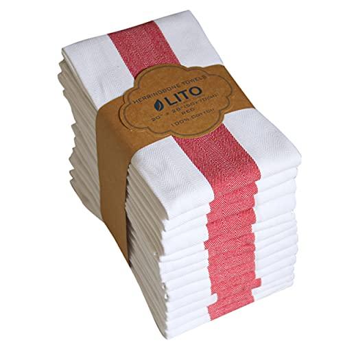 Linen and Towel Paños De Cocina |Paquete De 6 Hilos De Algodón Hilado En Anillo De 130 Hilos |20'X28 |Toalla De Cocina, Toallas De Mano, Paños De Cocina, Paño De Cocina |Rojo|Grande