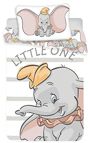 Kinderbettwäsche Disney III 2-teilig 100% Baumwolle 40x60 + 100x135 cm mit Reißverschluss (Dumbo)