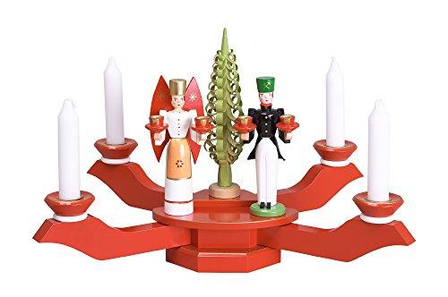 Kerzenhalter Tischleuchter rot mit Engel und Bergmann BxT = 38x38cm NEU Kerze Kerzenleuchter Leuchter Wachskerze Kirche Holz Weihnachten Seiffen Erzgebirge Deko Weihnachtsfigur Tischdek