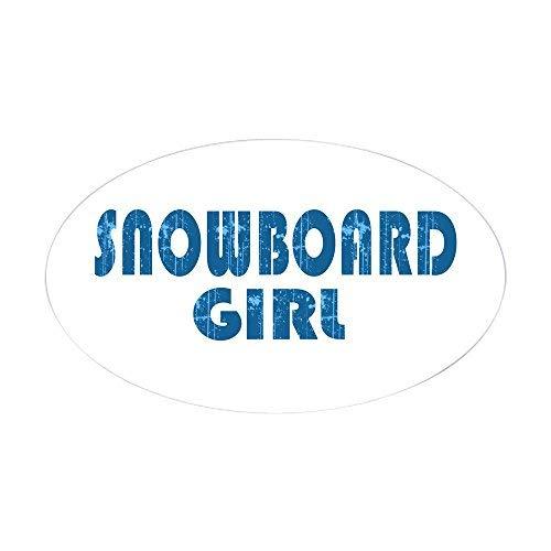 Snowboard Meisje Ovale Sticker Stickers Grappige Bumper Stickers voor Auto's Leuke Vinyl Sticker Stickers voor Laptop Windows Van Truck Nieuwigheid Kerstcadeaus